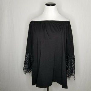 Sioni Tops - Sioni Black 3/4 Sleeve Lace-Cuff Off Shoulder Top